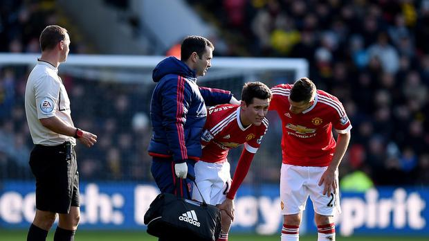 Manchester United's Ander Herrera suffered a hamstring injury at Watford