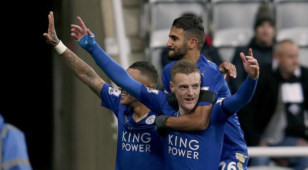 Leicester's Jamie Vardy, front, celebrates his record-equalling goal at Newcastle last week