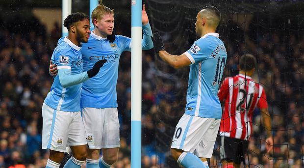 Raheem Sterling, Kevin De Bruyne and Sergio Aguero