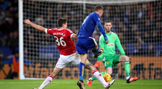 Leicester's Jamie Vardy scores his historic goal