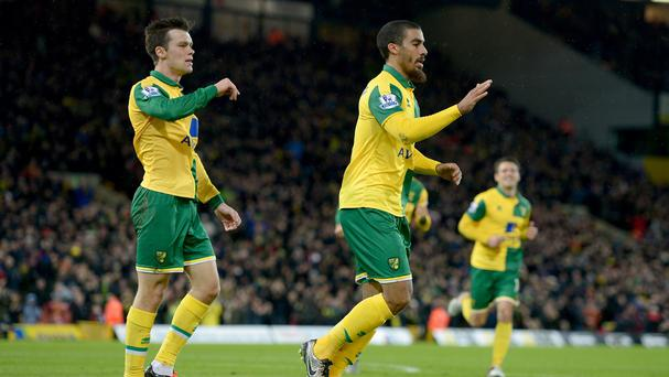 Lewis Grabban, right, celebrates scoring the equaliser