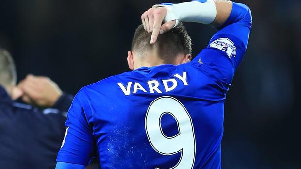 Jamie Vardy scored for the eleventh straight game against Manchester United