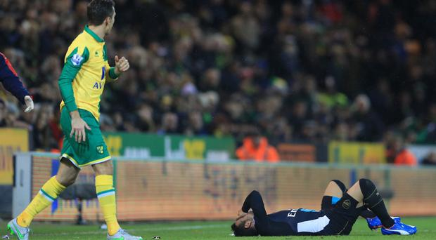 Santi Cazorla suffered a knee injury during last weekend's draw at Norwich