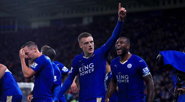 Leicester's Jamie Vardy celebrates his record-breaking goal in last week's 1-1 draw with Manchester United.