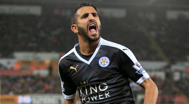 Hat-trick hero Riyad Mahrez, pictured, was involved in a tunnel bust-up with Swansea's Ashley Williams