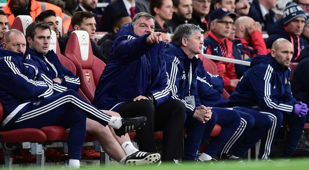 Sunderland manager Sam Allardyce, centre, was impressed with his side's display at Arsenal