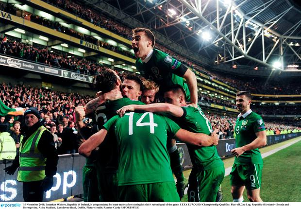Ireland celebrate against Bosnia