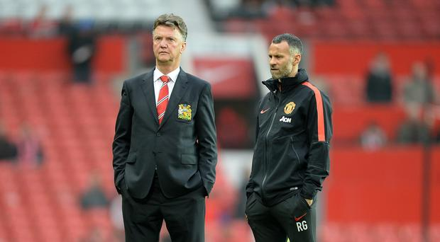 Manchester United assistant manager Ryan Giggs with boss Louis van Gaal