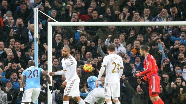 Manchester City's Wilfried Bony opened the scoring against his former side Swansea
