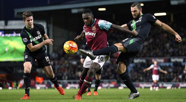 Michail Antonio, centre, impressed on his first start for West Ham