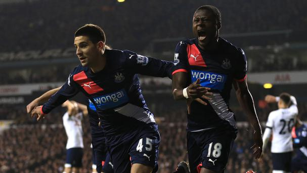 Aleksandar Mitrovic, left, equalised with 16 minutes remaining before Ayoze Perez completed the comeback in stoppage time