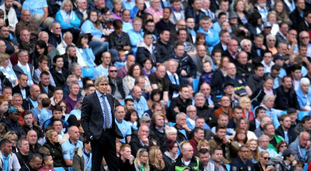 Manuel Pellegrini's Manchester City side will not have any supporters for their Champions League tie at Dynamo Kiev