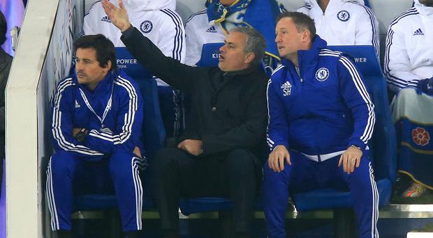 It was another difficult night for Jose Mourinho, centre, and Chelsea