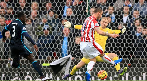 Stoke forward Marko Arnautovic scored both goals in the 2-0 win over Manchester City