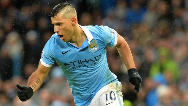 Manchester City's Sergio Aguero could be back in action in Monday's match at Arsenal