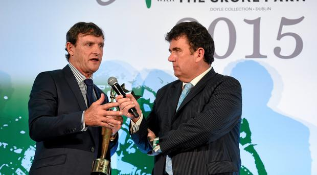 Kevin Moran, the Hall of Fame recipient at last night's awards, with Des Cahill at Croke Park PAUL MOHAN / SPORTSFILE