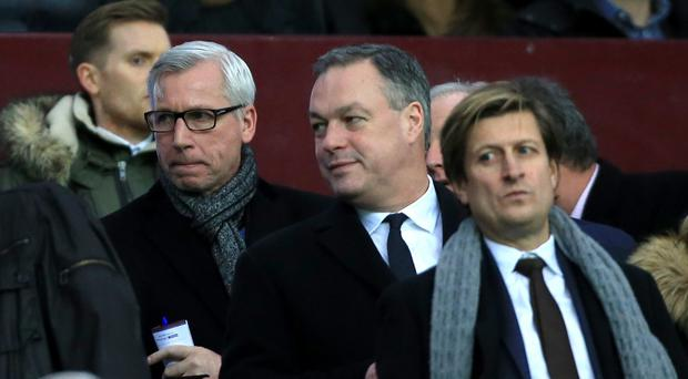 Alan Pardew, left, with Crystal Palace chairman Steve Parish, right