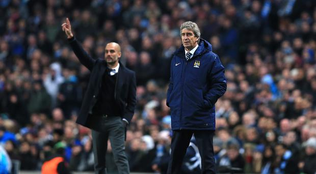 Manuel Pellegrini, right, is not perturbed by Pep Guardiola rumours