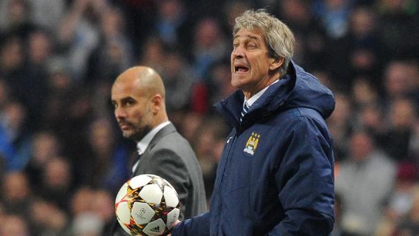 Manuel Pellegrini, right, has to deal with speculation about Pep Guardiola, left