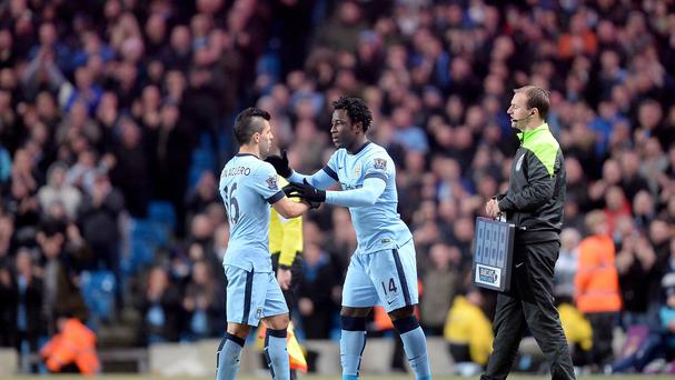 Wilfried Bony (centre) has been playing second fiddle to Man City team-mate Sergio Aguero (left).