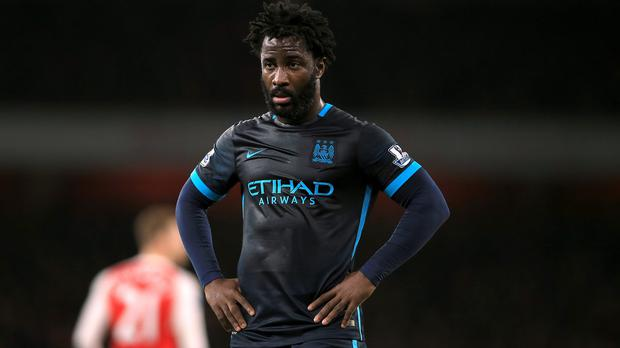 Manchester City's Wilfried Bony was dropped to the bench for the Premier League game at Arsenal