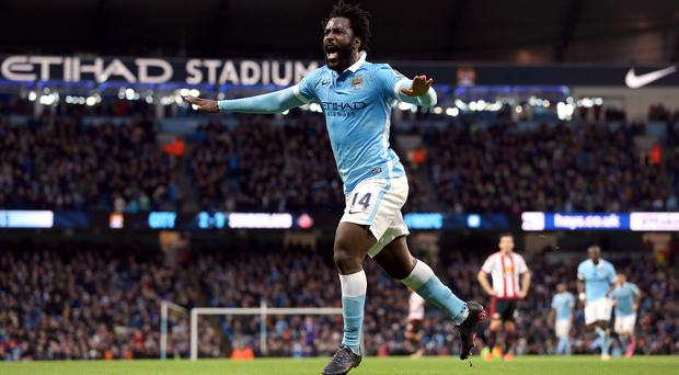 Wilfried Bony celebrates scoring a first-half header at the Etihad