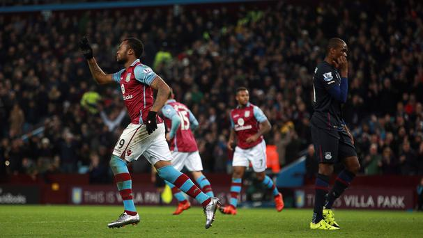 Aston Villa's Jordan Ayew, left, bagged an equaliser in the 1-1 draw with West Ham