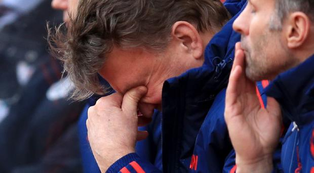 Louis van Gaal was dejected after Manchester United stretched their winless run to seven games