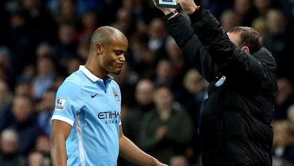 Vincent Kompany, left, limped off during Manchester City's 4-1 win over Sunderland