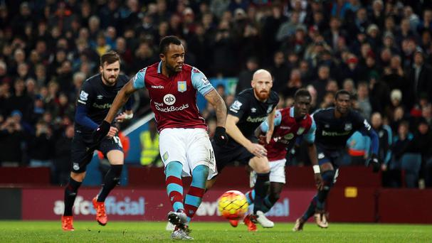 Aston Villa's Jordan Ayew levelled from the spot to earn a 1-1 draw against West Ham