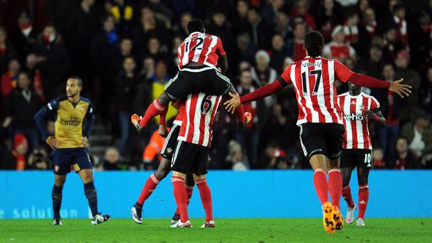 Southampton celebrate as Cuco Martina starts a 4-0 win against Arsenal