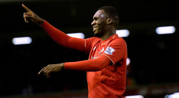 Liverpool's Christian Benteke celebrates after scoring his side's goal against Leicester on Boxing Day