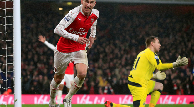 Laurent Koscielny's third goal of the season earned all three points for Arsenal Photo: Jonathan Brady / PA Wire