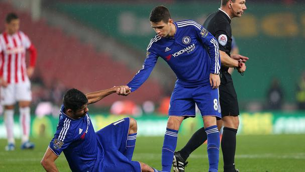 Diego Costa, left, and Oscar, right, had a confrontation during Chelsea training