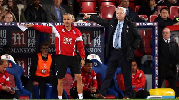 Keith Millen, left, filled in for Alan Pardew, right, at Crystal Palace's press conference on Monday