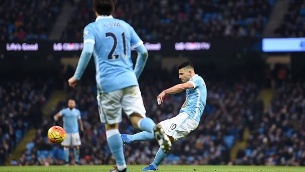 Sergio Aguero returned to goalscoring form against Crystal Palace