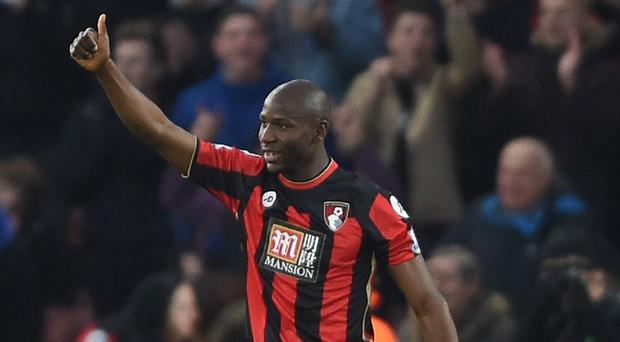 Bournemouth's Benik Afobe salutes the fans after scoring his first goal for his new club