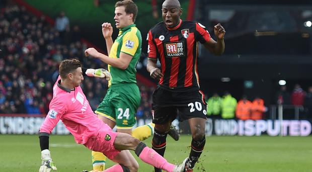 Benik Afobe was fortunate to avoid a serious injury, Eddie Howe has claimed