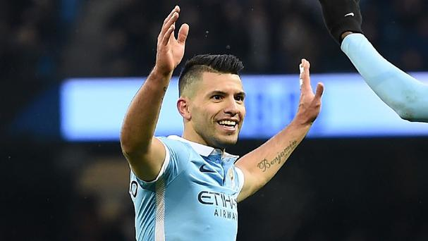 Sergio Aguero scored twice as Manchester City beat Crystal Palace 4-0
