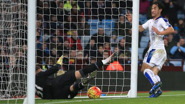 Shinji Okazaki opened the scoring in Leicester's 1-1 draw at Villa Park