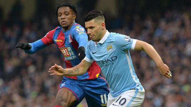 Sergio Aguero, right, scored twice in Manchester City's 4-0 defeat of Crystal Palace