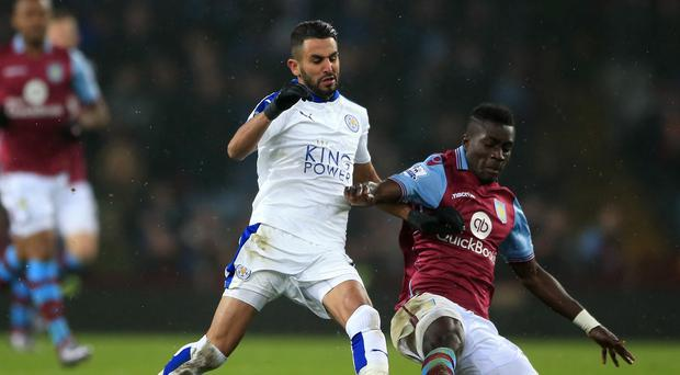 Riyad Mahrez, pictured left, saw his penalty saved by Mark Bunn in Leicester's 1-1 draw at Aston Villa
