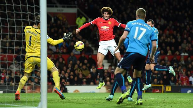 Marouane Fellaini scoring for Manchester United last season
