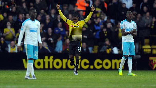 Odion Ighalo celebrates after scoring for Watford
