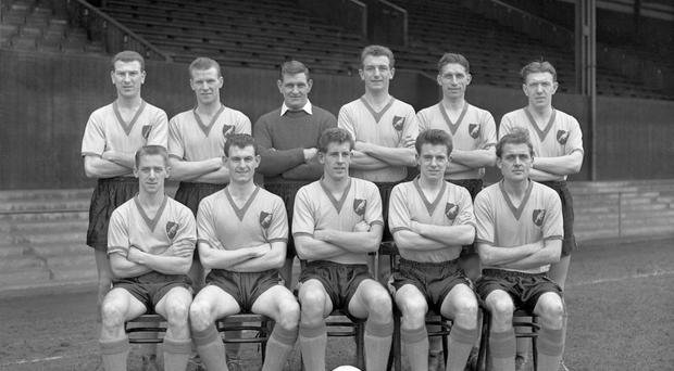Norwich forward Terry Allcock (front row, second left) scored a hat-trick in a 5-4 defeat at Liverpool in January 1962