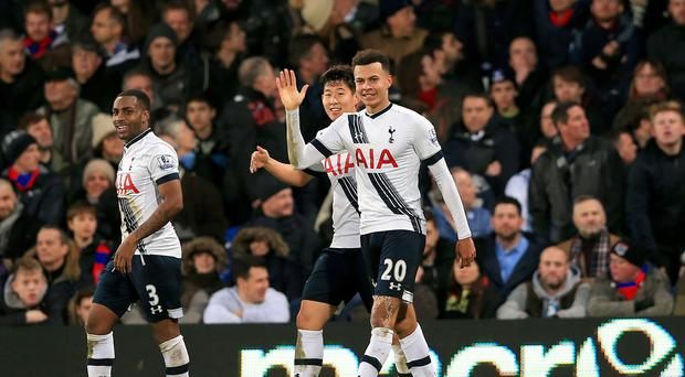 Dele Alli celebrates his superb goal against Crystal Palace.