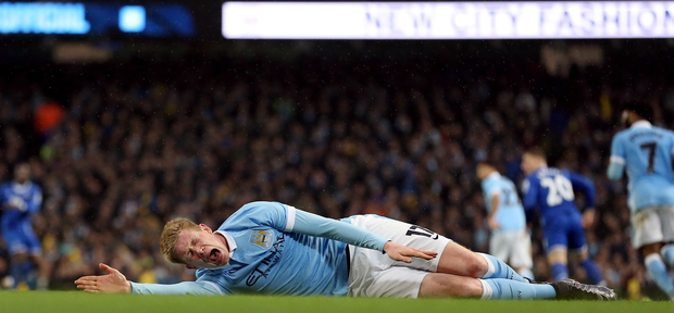 Manchester City's Kevin De Bruyne suffered ankle and knee injuries on Wednesday night (PA)