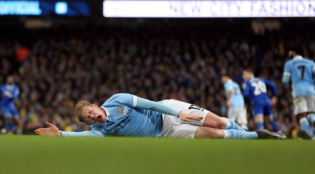 Manchester City's Kevin De Bruyne suffered ankle and knee injuries on Wednesday night
