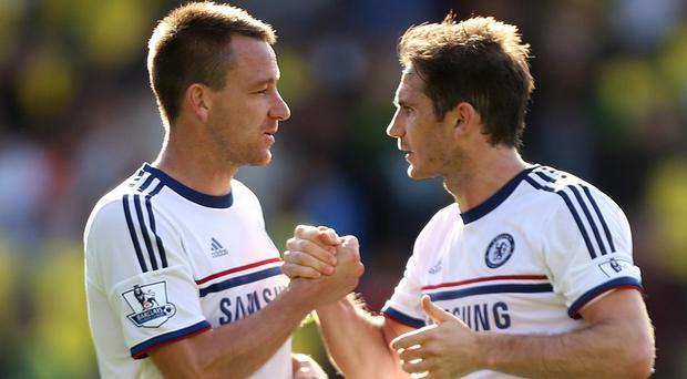 Could John Terry, pictured left, follow his old Chelsea team-mate Frank Lampard, right, into MLS?
