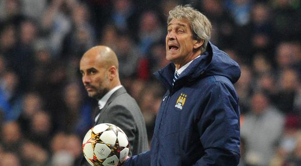 Pep Guardiola, left, will succeed Manuel Pellegrini, right, as Manchester City manager next season